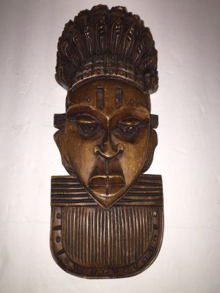 Vintage African Tribal Ethnic Art Wood Carving Face Mask Wall Hanging Folk photo