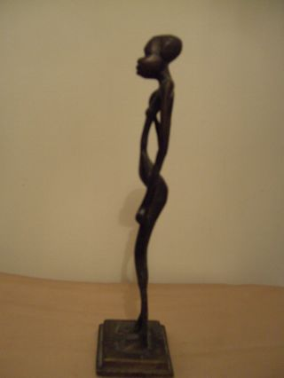 A Lovely Vintage African Bronze Female Figure photo