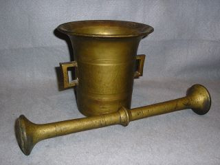 Antique 18/19th C Large Heavy Brass Mortar & Pestle Stamped And Marked W/numbers photo
