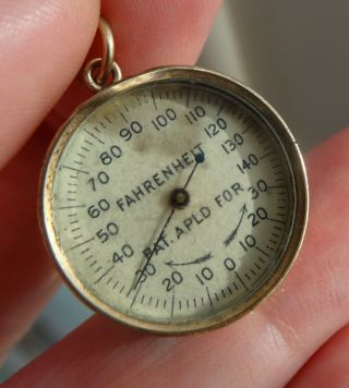 Antique Rose Gold Filled & Agate Thermometer Fob Charm In Perfect Order photo