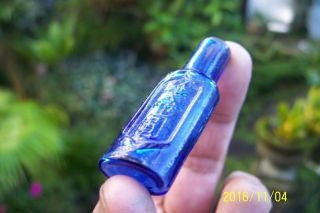 Antique Miniature Oriental Blue Glass Bottle Shear Top photo