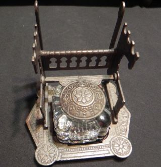 19th C Letter & Pen Holder Inkwell Metal Glass Quill Dip Desk Art Deco Antique photo