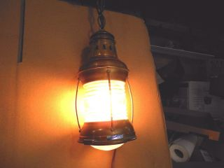 Vintage - Perkins Marine Lamp Perko Brass Lamp - - - 110 V Electric Hanging Light photo
