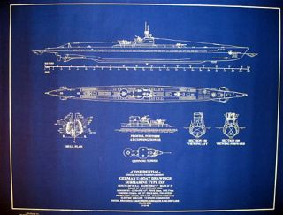 U - Boat 505 Submarine Type Ixc 1940 War Dept.  Blueprint Plan 24