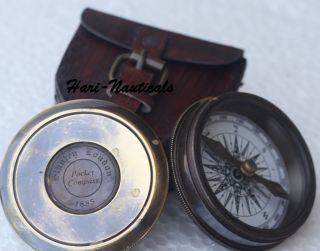 Nautical Brass Compass Vintage Poem Engraved Marine Compass W/leathercase Gift photo
