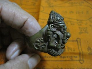 Big Brass Ring Size 13 Ganesha Hindu God Of Success Elephant Headed A9 - 13f photo