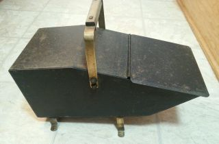 Vintage Brass & Cast Iron Coal Scuttle Box Ash Can Fireplace Hearthware photo