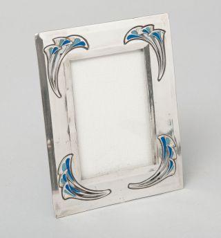 Antique Art Nouveau/seccessionist Polished Pewter & Enamel Photo Frame photo