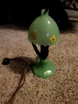 Antique Green Jadeite Glass Boudoir Finger Lamp Unique photo