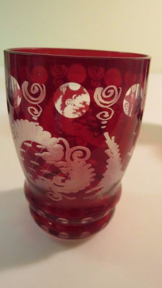 Antique Bohemian Ruby Red Etched Shot/cordial Glass photo