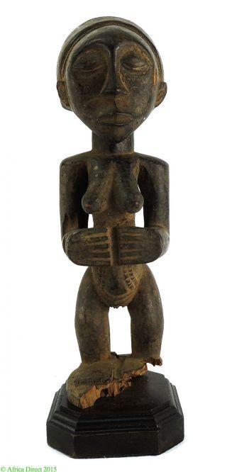 Luba Standing Female On Custom Base Congo African Art Was $225 photo