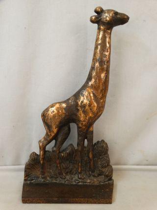 Lg Antique Art Deco Era 1920 ' S Verona Old Giraffe Tall Cast Iron Animal Doorstop photo