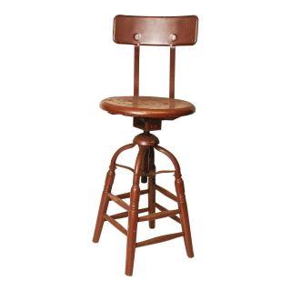 Vintage Industrial Drafting Stool Chair Factory Swivel Loft Wood Metal Toledo photo