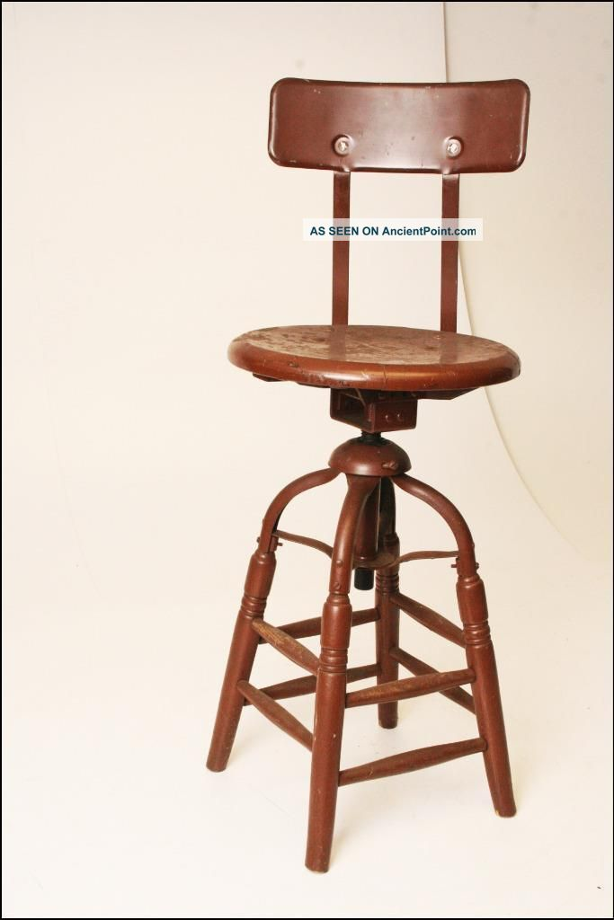 vintage industrial drafting stool chair factory swivel loft