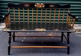 Vintage Hitchcock Deacon ' S Bench Ebonized Maple Gold Gilt Stenciled Fruit Leaves photo