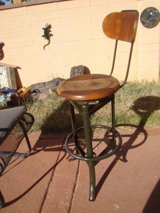 Antique Vintage 3 Leg Industrial Steel Wood Drafting Machinist Bar Stool Chair photo
