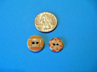Antique Calico Stenciled Buttons - China Buttons Orange (s) photo