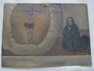Vintage Exvoto/ Retablo Woman Keeling To The Image Of Jesus On The Cross Praying photo