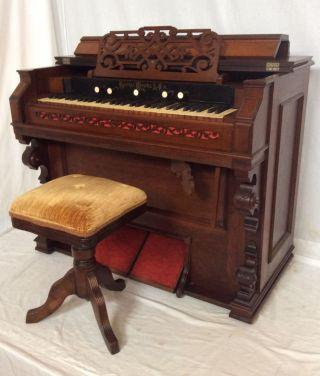 1880s George Woods & Co Walnut Eastlake Victorian Parlor Pump Organ photo