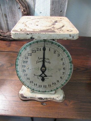 Vintage American Family Scale 25 Lbs Kitchen Baby Off - White Shabby Country Decor photo