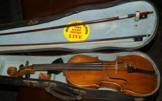 Very Pretty Full Size 19th Century Violin With Case & 2 Bow photo