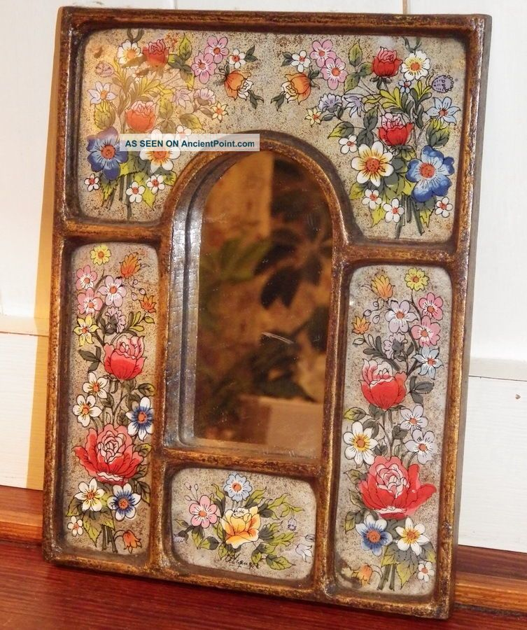 Cajamarquino Decorative Vintage Peruvian Handpainted Mirror 20th Century photo