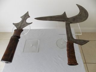 2 Rare Great Provenance Antique Dr Congo African Tribal Art Steels photo