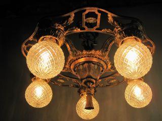 Chandelier Antique Polychrome 5 Light Bronze Accents 1900`s Restored Rewired photo