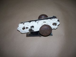 Antiques Victorian Iron Door Knob,  Back Plates And Corbin Lock.  Sorry No Key.  Nr photo