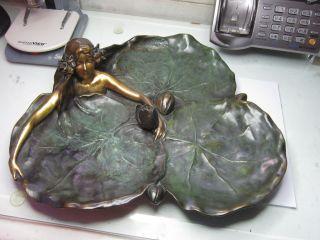 Raoul Larche Bronze Art Noveau Tray,  Nymph On Lily Pads Circa 1905 photo