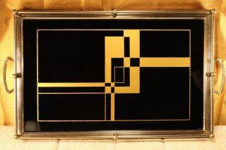 Art Deco Geometric Design Tray Black & Gold Glass Chrome Bauhuas Antique Salver photo