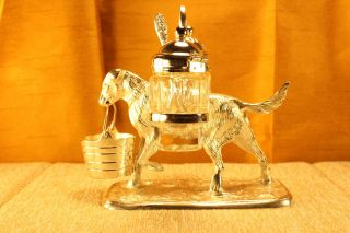 Antique Sheffield Silver Victorian Figural Dog Caddy Condiment Server Glass Pots photo