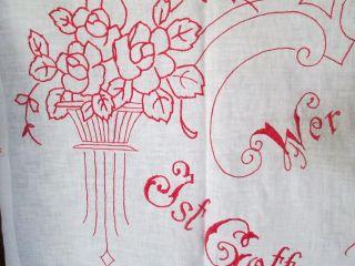 Antique Art Nouveau Kitchen Banner Hand Embroidered /cotton 1900 photo