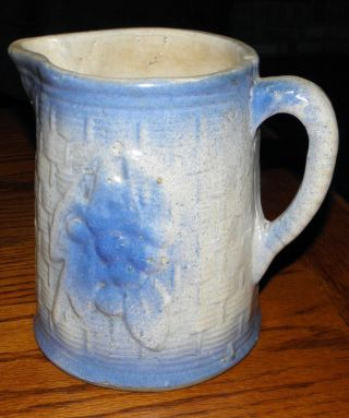 Antique Gray & Blue Salt Glaze Milk Pitcher,  Basketweave & Fruit Pattern photo