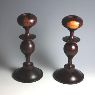 Antique Hard Wood Candle Sticks Candlesticks photo