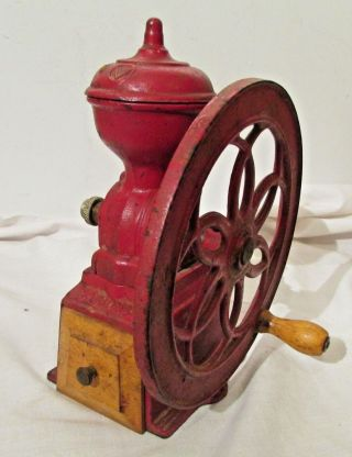 Antique National Specialty Cast Iron Coffee Grinder 1 Wheel, photo