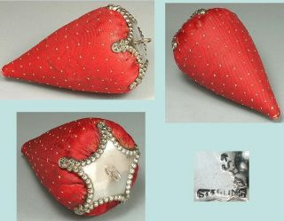 Rare Antique Sterling Silver Strawberry Pincushion 3 1/2