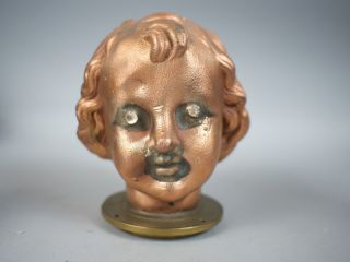 Rare Vintage Industrial Doll Head Copper Metal Mold Antique photo