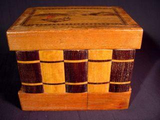 Vintage Japanese Puzzle Box Stacked Books Design Zougan Scene Musical Drawer&key photo