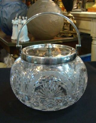 Antique English Sterling Silver & Cut Crystal Biscuit Jar photo