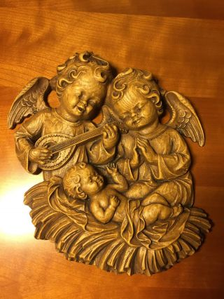Antique Hand Carved Wood Black Forest Guardian Angels Cherubs Putti Putto Jesus photo
