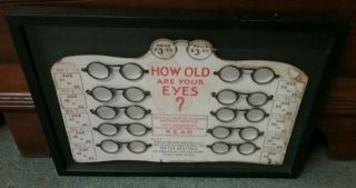 Rare 1930s How Old Is Your Eyes Chart 10 Pair Bakelite Glasses Store Display photo