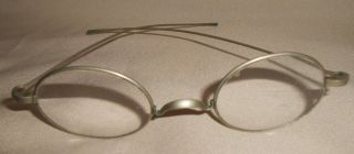 Antique Benjamin Franklin Type Eyeglasses Silvertone With Case photo