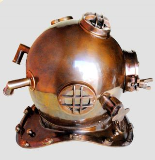 Maritime Brass Divers Helmet Us Navy Mark - V Antique Helmet Replica Model Gift photo