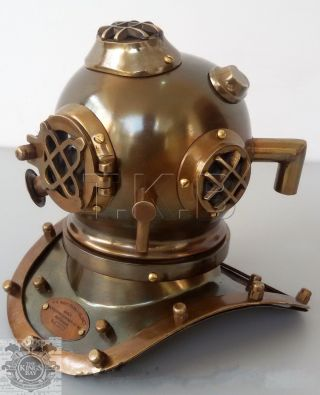 Antique U.  S Navy Mark V Mini Diving Divers Helmet Steel & Brass 6 Inch photo