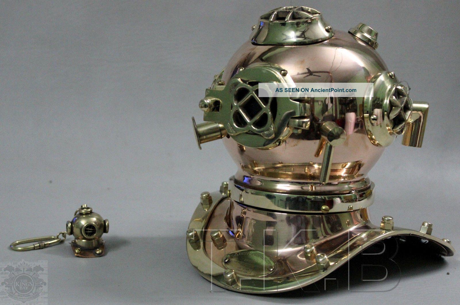 U.  S Navy Mark V Solid Copper & Brass Mini Diving Divers Helmet 6 Inch Diving Helmets photo