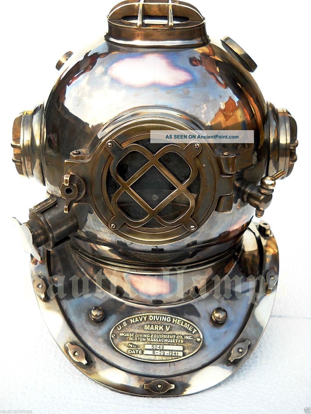 Antique U.  S Navy Brass Divers Diving Helmet Mark V Full Size Deep Sea Scuba Ixn See more Antique U.s Navy-brass Divers Diving Helmet Ma... photo