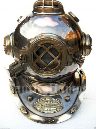 Antique U.  S Navy Brass Divers Diving Helmet Mark V Full Size Deep Sea Scuba Ixn photo