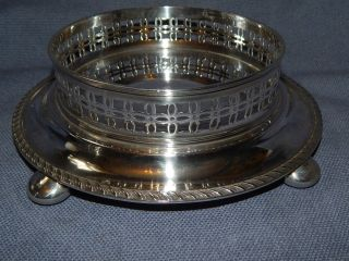 Antique Victorian A1 Silver Plate Gallery Edge Magnum Wine Or Champagne Coaster photo