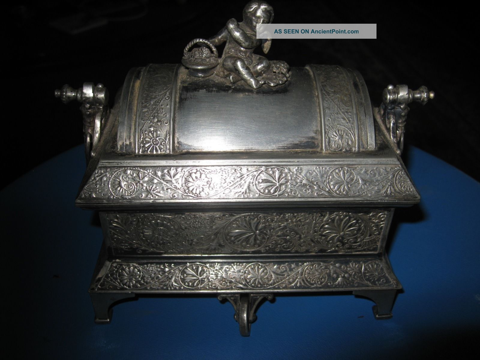Antique Mermod Jaccard Co.  Quadruple Silver Plate Mechanical Jewelry Box 1884 Other Antique Silverplate photo